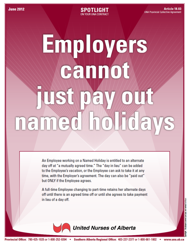 18-Employers cannot just pay out named holidays