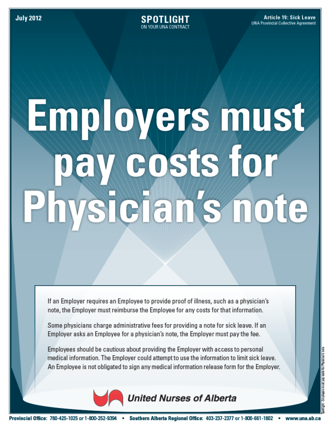 19-Employers must pay costs for Physician's note