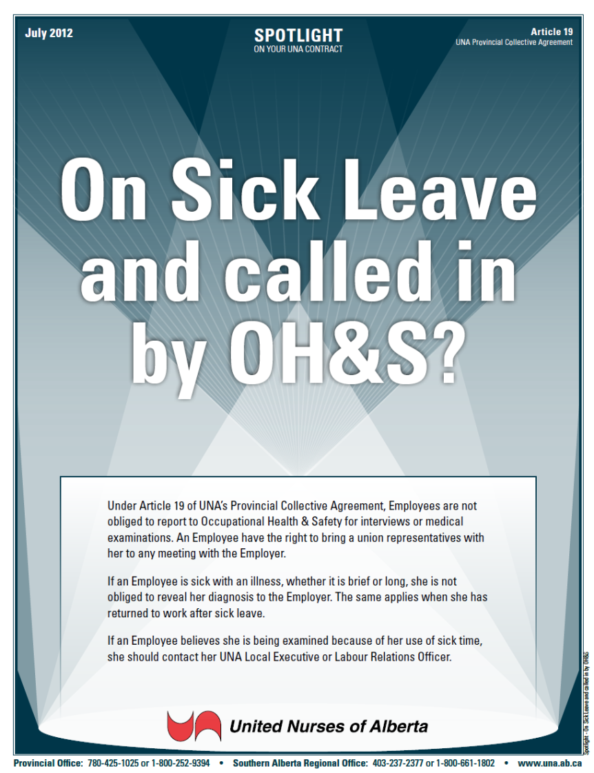 19-On Sick Leave and called in by OH&S