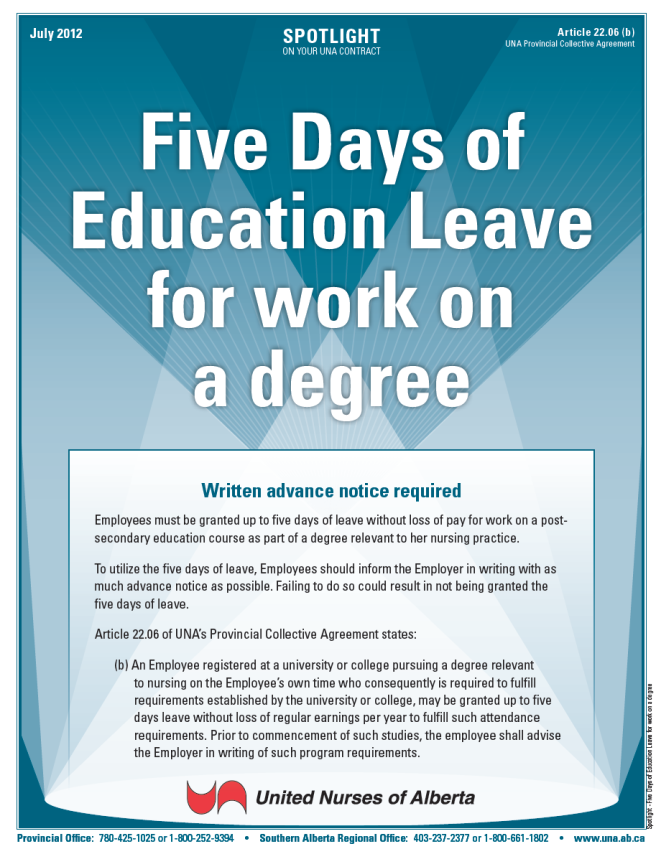 22-Five Days of Education Leave for work on a degree