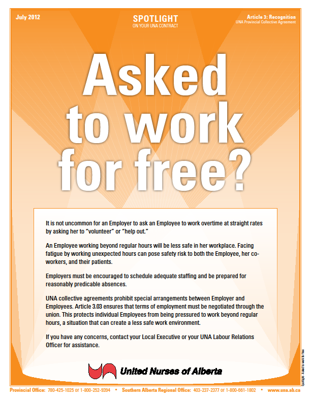 3-Asked to work for free