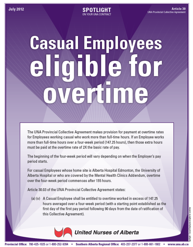 30-Casual Employees eligible for overtime