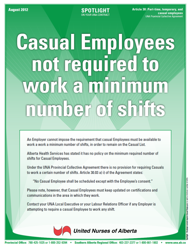 30-Employer cannot require Casual Employees to work a minimum number of shifts