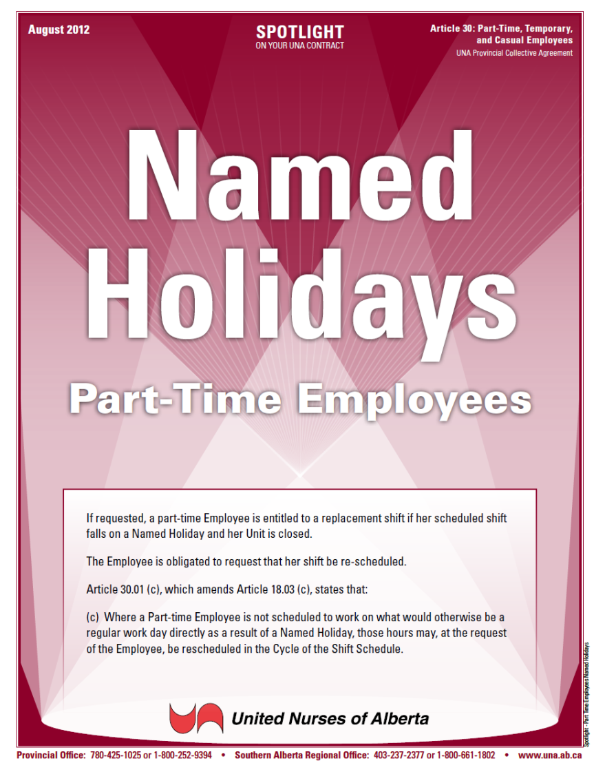 30-Part Time Employees Named Holidays