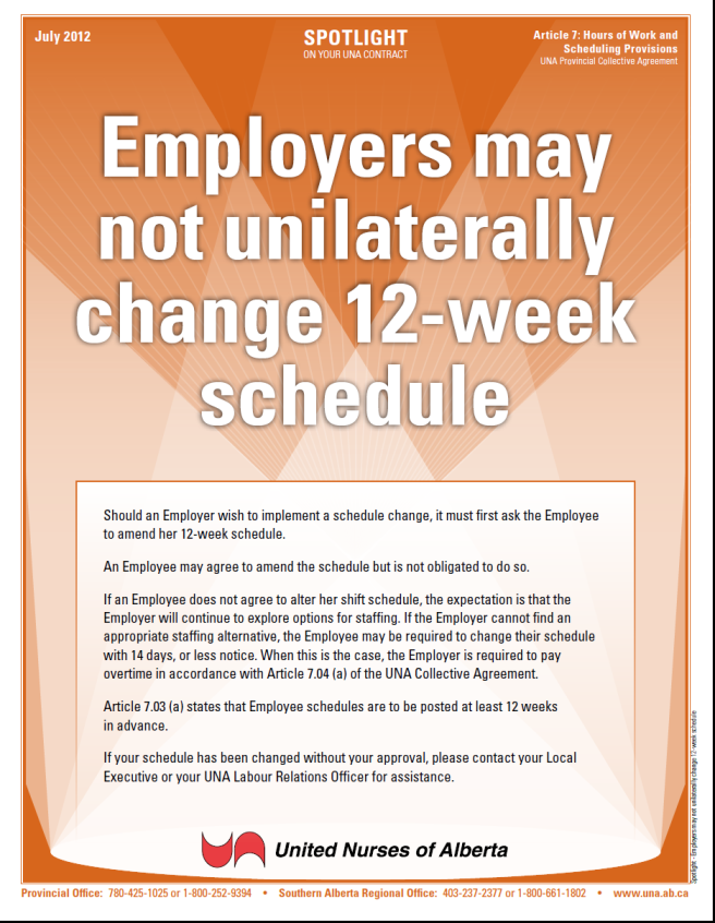 7-Employers may not unilaterally change 12-week schedule