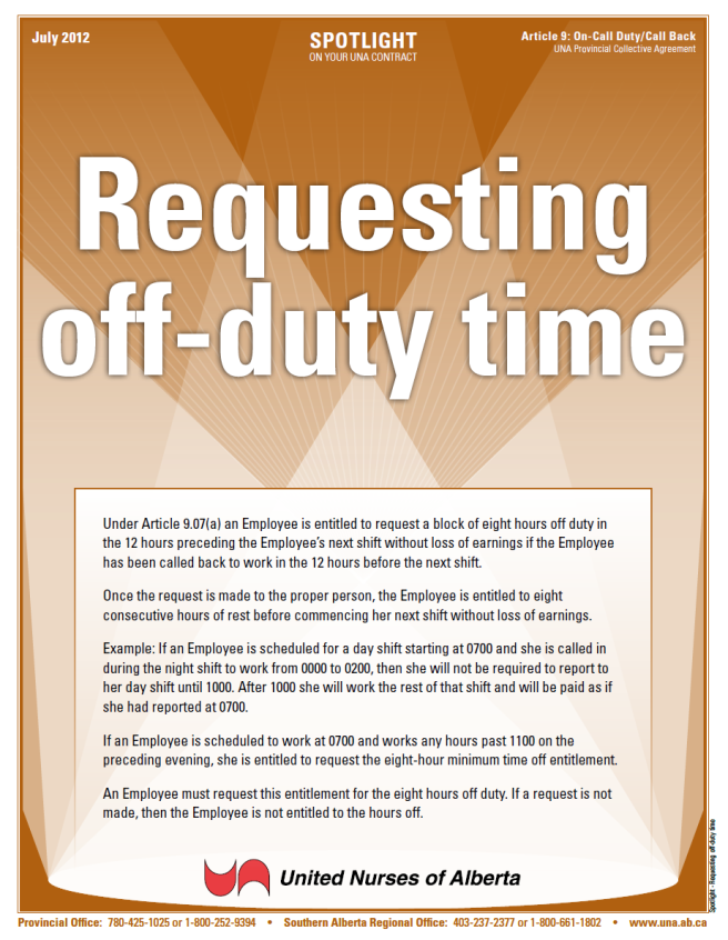 9-Requesting off-duty time